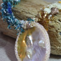 Close up of Sea Necklace by Amanda Crago of Bowerbird Jewellery