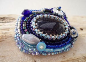 Blue Goldstone bead embroidered Brooch by Amanda Crago of Bowerbird Jewellery