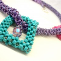 Beaded Cubes Necklace by Amanda Crago of Bowerbird Jewellery