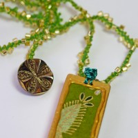 green fern washi paper domino pendant
