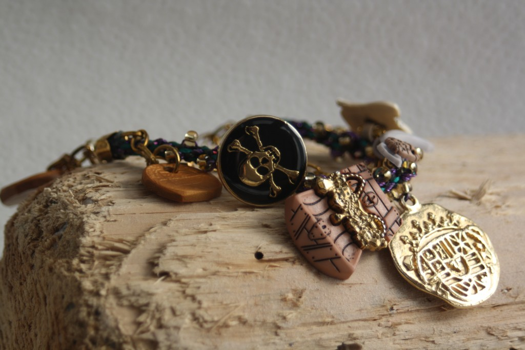 Pirate Charms Kumihimo Bracelet by Amanda Crago of Bowerbird Jewellery