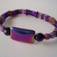 Purple metallic beaded bangle by Amanda Crago, Bowerbird Jewellery