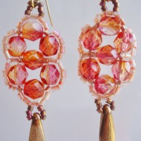 Peach Firepolished Crystal bead Earrings by Amanda Crago of Bowerbird Jewellery