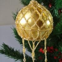 Gold Bead netting Christmas Bauble by Amanda Crago of Bowerbird Jewellery