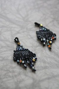 Beaded Art Deco style earrings with black beads and crystal dangles by Amanda Crago of Bowerbird Jewellery