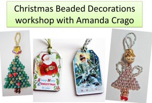 photos showing beaded Christmas Tree, Angel and mixed media wooden tags with vintage Christmas Card illustrations on them.