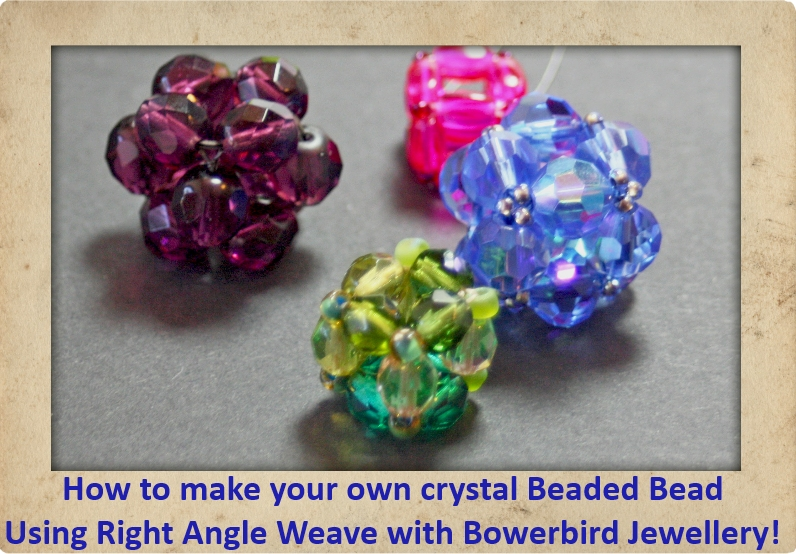 How to make a beaded bead with firepolished crystals