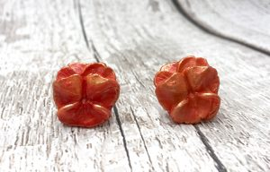 pansy earrings in orange marbled Jewel Enamel